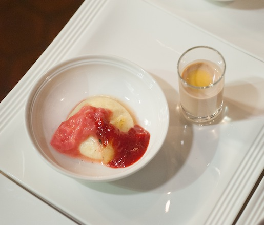 Strawberry Crema Catalana with Rhubarb Jam, Toasted Almond Soup, and Cocoa Nib Tuile